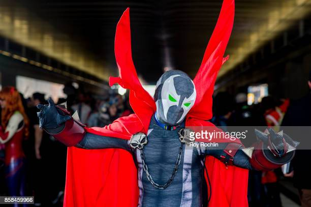 A fan cosplays as Spawn from Image Comics and the game Mortal Kombat during 2017 New York Comic Con Day 2 on October 6 2017 in New York City