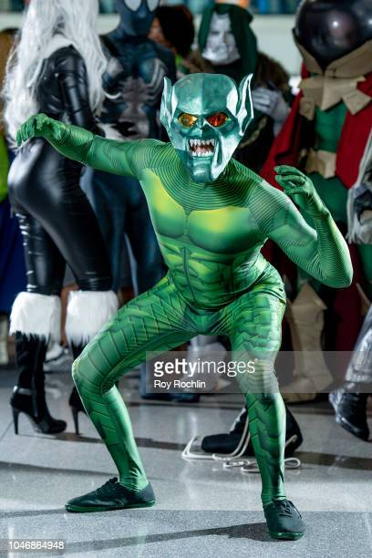 A fan cosplays as the Goblin from SpiderMan and the Marvel Universe during the 2018 New York Comic Con at Javits Center on October 6 2018 in New York...