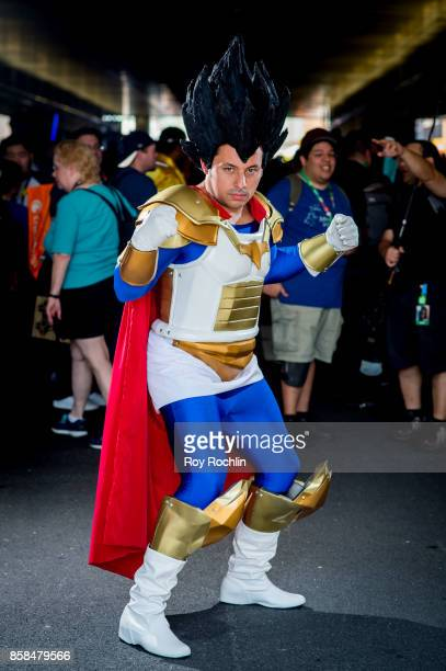 A fan cosplays as Vegeta from Dragon Ball Z during 2017 New York Comic Con Day 2 on October 6 2017 in New York City