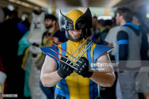 Fan cosplays as Wolverine from X-Men and the Marvel Universe during the 2018 New York Comic Con at Javits Center on October 5, 2018 in New York City.