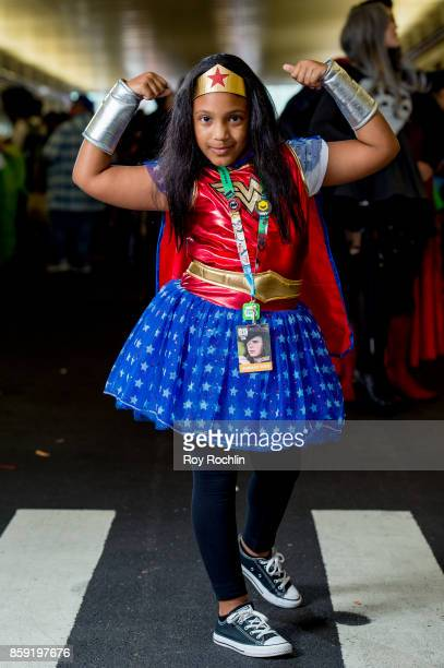 A fan cosplays as Wonder Woman during the 2017 New York Comic Con Day 4 on October 8 2017 in New York City