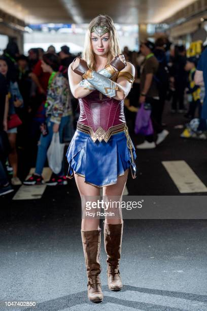 A fan cosplays as Wonder Woman from the DC Universe during the 2018 New York ComicCon at Javits Center on October 7 2018 in New York City