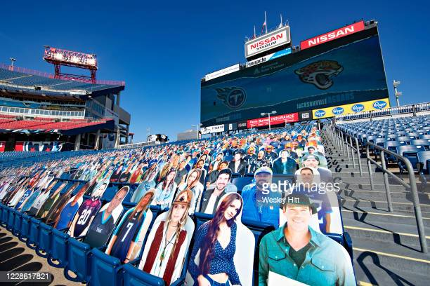 Fan Cut Outs in the seats before a game between the Jacksonville Jaguars and the Tennessee Titans at Nissan Stadium on September 20, 2020 in...