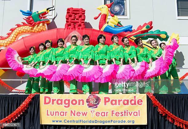 Fan dance during Lunar New Year Festival in Orlando, Florida, USA.