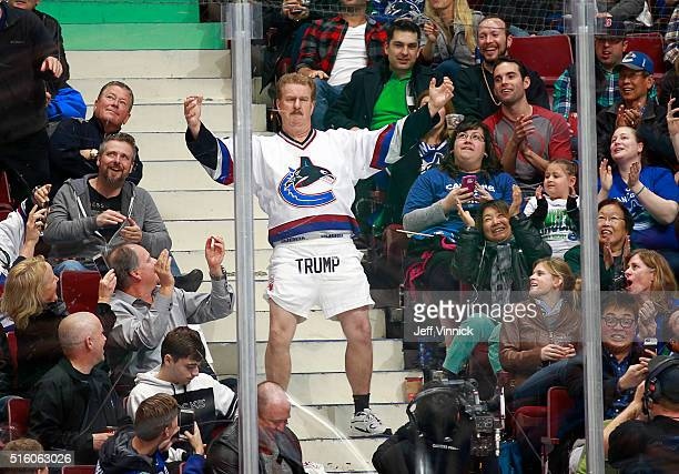 A fan dances in the stands in his Donald Trump shorts during the NHL game between the Vancouver Canucks and the Colorado Avalanche at Rogers Arena...