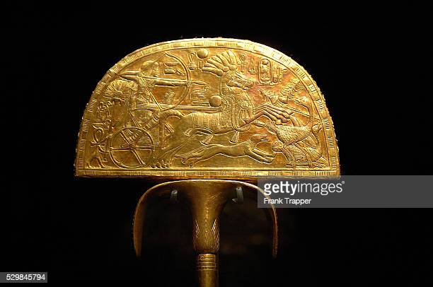 Fan Depicting an Ostrich Hunt Wood gold Reign of Tutankhamun Valley of the Kings tomb of Tutankhamun on display as part of 'Tutankhamun and the...