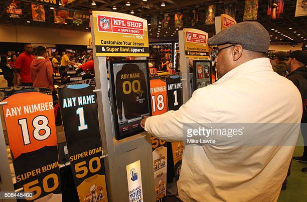 A fan designs a custom jersey at the Moscone Center West prior to Super Bowl 50 on February 4 2016 in San Francisco United States