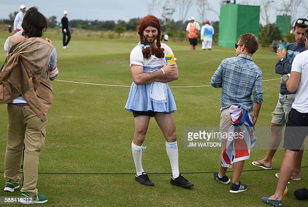 A fan disguised as Pippi Longstocking poses during the men's individual stroke play at the Olympic Golf course during the Rio 2016 Olympic Games in...