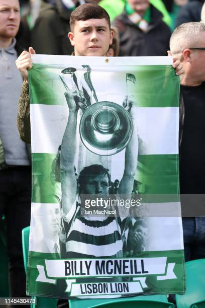 A fan displays a flag in tribute to Celtic legend Billy McNeill prior to the Ladbrokes Scottish Premiership match between Celtic and Kilmarnock at...
