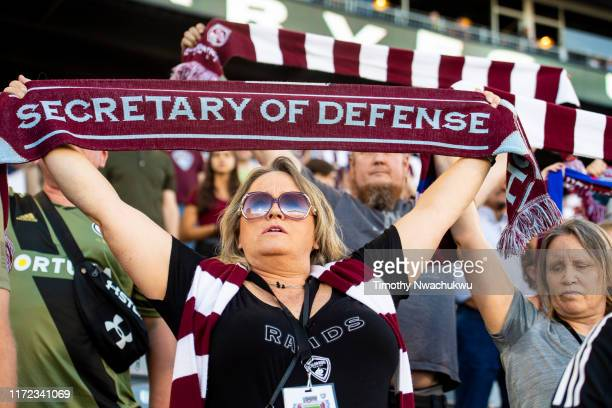 A fan displays a scarf at Dick's Sporting Goods Park on September 29 2019 in Commerce City Colorado