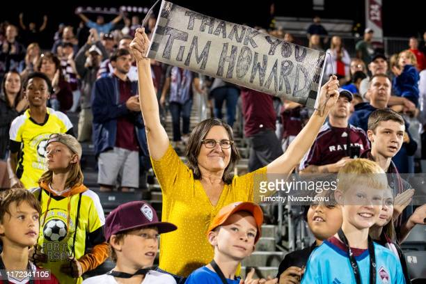 A fan displays a sign for Tim Howard of the Colorado Rapids at Dick's Sporting Goods Park on September 29 2019 in Commerce City Colorado