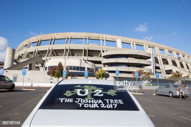 A fan displays art on their car celebrating the final night of U2 The Joshua Tree Tour 2017 at SDCCU Stadium on September 22 2017 in San Diego...