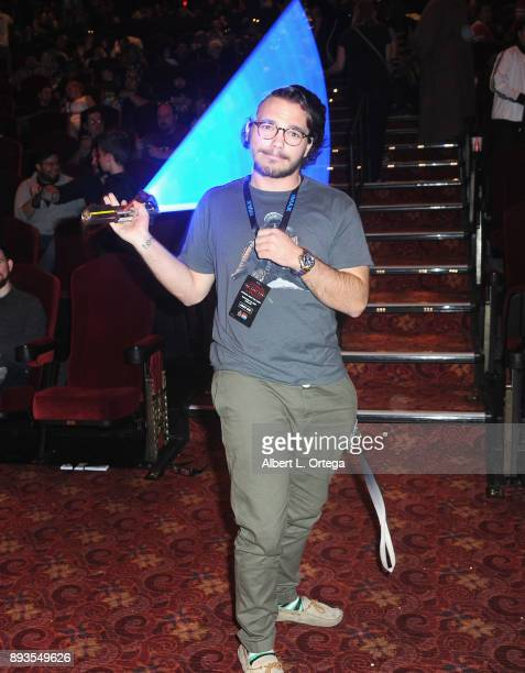 A fan displays his lightsaber skills at the Opening Night Celebration Of Walt Disney Pictures And Lucasfilm's 'Star Wars The Last Jedi' At TCL...