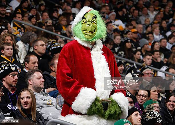 A fan dress as the Grinch looks on during the game between the Pittsburgh Penguins and the Columbus Blue Jackets at Consol Energy Center on December...