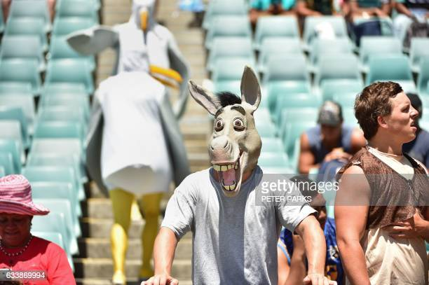 Fan dressed as a donkey watches the action at the Sydney Sevens World Series rugby tournament in Sydney on February 5, 2017. / AFP / PETER PARKS /...