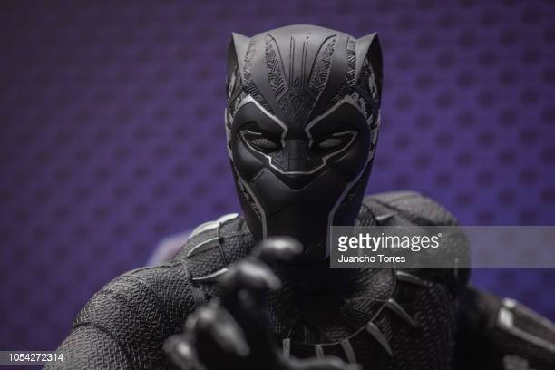 Fan dressed as Black Panther from Marvel Studios poses during SOFA 2018 on October 12, 2018 in Bogota, Colombia. SOFA is one of the largest cosplay...