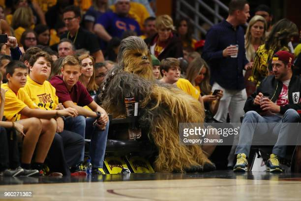 A fan dressed as Chewbacca from Star Wars attends Game Three of the 2018 NBA Eastern Conference Finals between the Boston Celtics and the Cleveland...