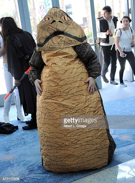 Fan dressed as Jabba The Hut on Day Four of Disney's 2015 Star Wars Celebration held at the Anaheim Convention Center on April 19 2015 in Anaheim...