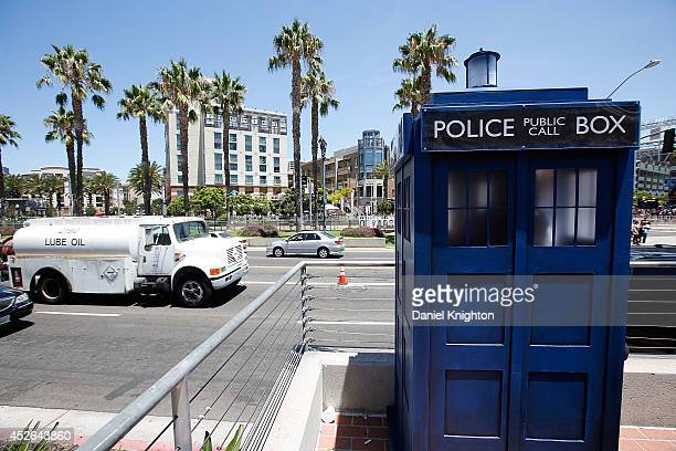 A fan dressed as the TARDIS from the BBC America show Doctor Who attends ComicCon Internaitional at San Diego Convention Center on July 24 2014 in...