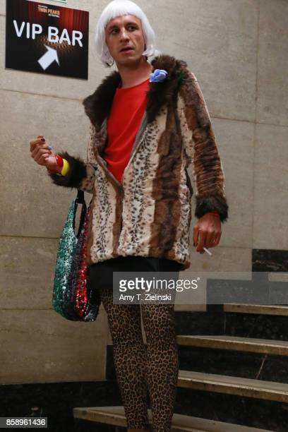 A fan dressed as the Twin Peaks character Diane walks doen the stairs during the Twin Peaks UK Festival 2017 at Hornsey Town Hall Arts Centre on...