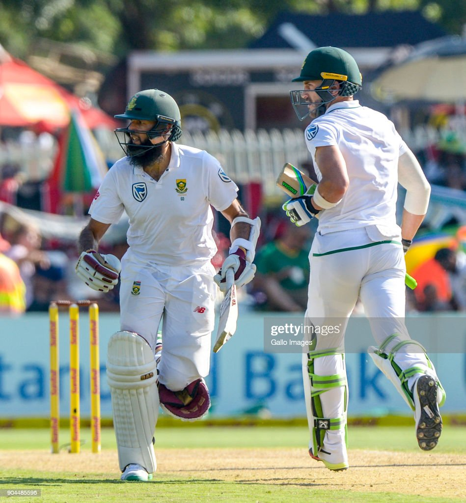 Fan du Plessis and Hashim Amla of South Africa during day 1 of the 2nd Sunfoil Test match between South Africa and India at SuperSport Park on January 13, 2018 in Pretoria, South Africa.