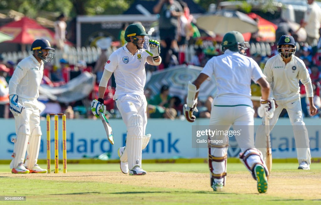 Fan du Plessis of South Africa warns teammate Hashim Amla to stay and not run in reaction to a short ball during day 1 of the 2nd Sunfoil Test match between South Africa and India at SuperSport Park on January 13, 2018 in Pretoria, South Africa.