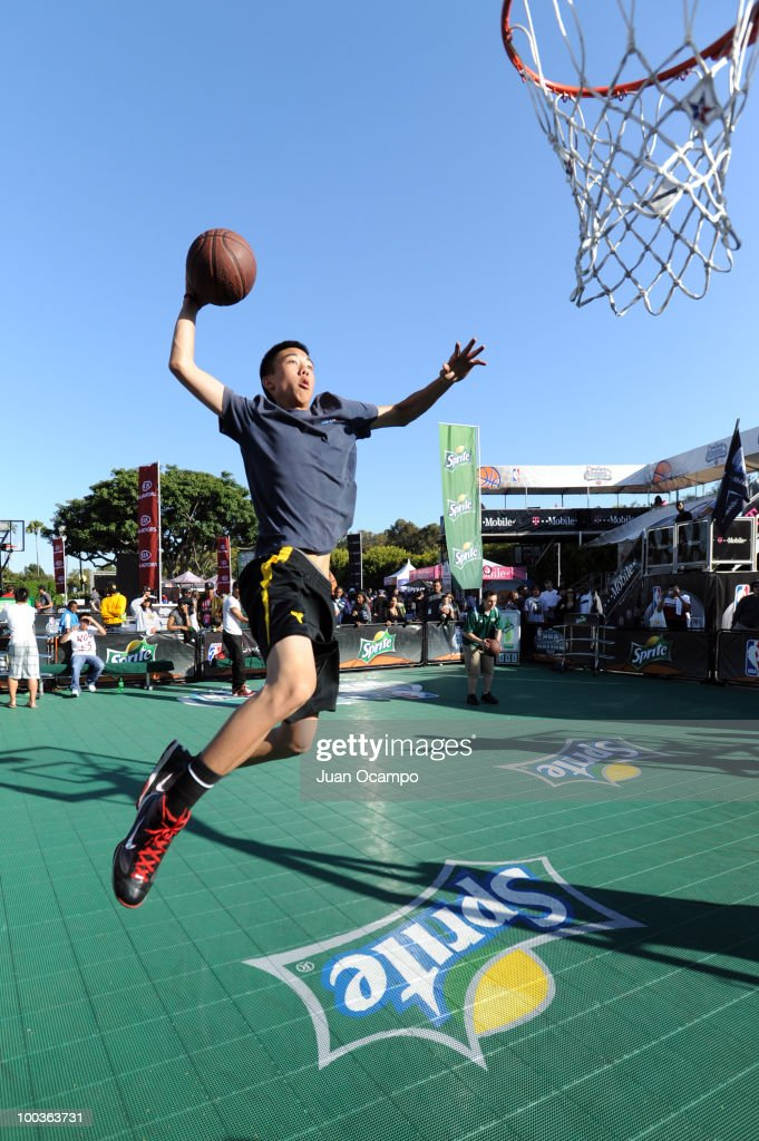 A fan dunks the ball during the NBA Nation Tour on May 23, 2010 at Universal City Walk in Universal City, California.