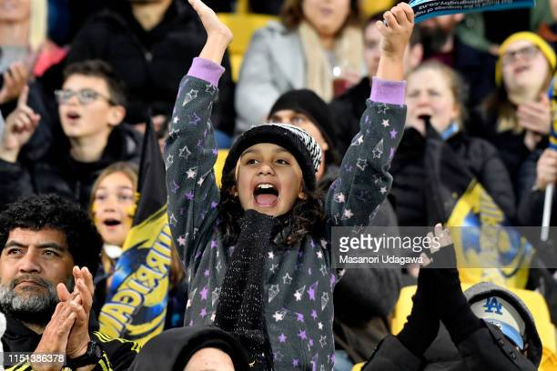 Fan during the Super Rugby Quarter Final match between the Hurricanes and the Bulls at Westpac Stadium on June 22 2019 in Wellington New Zealand