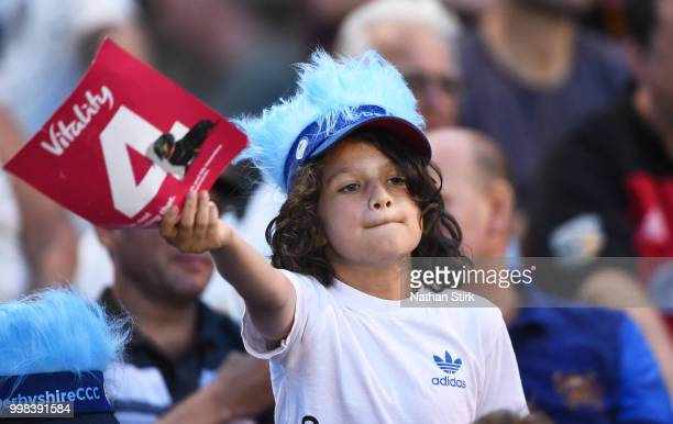 A fan during the Vitality Blast match between Derbyshire Falcons and Notts Outlaws at The 3aaa County Ground on July 13 2018 in Derby England