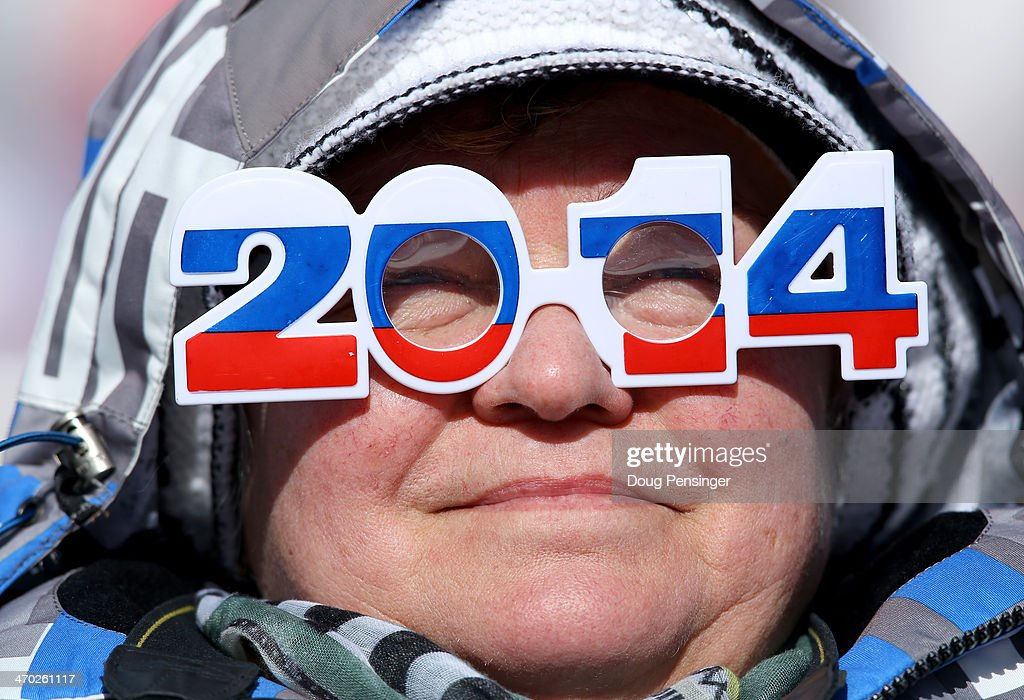 A fan enjoy the atmosphere during the Alpine Skiing Men's Giant Slalom on day 12 of the Sochi 2014 Winter Olympics at Rosa Khutor Alpine Center on February 19, 2014 in Sochi, Russia.