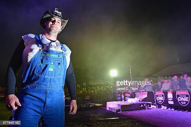 A fan enjoys infield festivities at Talladega Superspeedway on May 1 2015 in Talladega Alabama