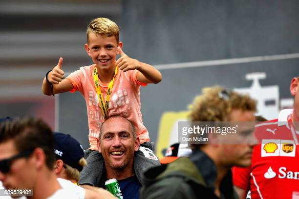 A fan enjoys the atmosphere around the circuit during qualifying for the Formula One Grand Prix of Belgium at Circuit de SpaFrancorchamps on August...