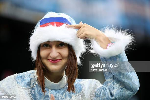 A fan enjoys the atmosphere during the 2018 FIFA World Cup Russia group D match between Argentina and Croatia at Nizhny Novgorod Stadium on June 21...