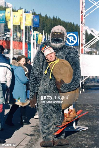 A fan enjoys the atmosphere during the Calgary Winter Olympics at Canmore Nordic Centre on February 20 1988 in Canmore Canada