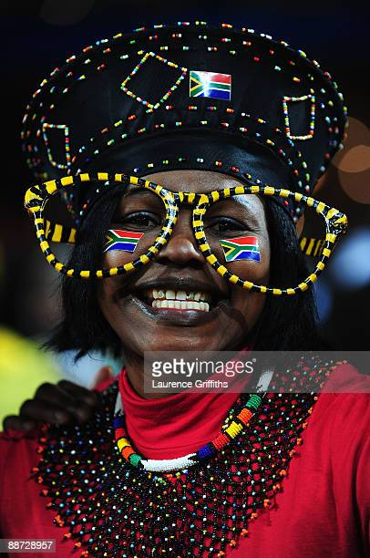 A fan enjoys the atmosphere during the FIFA Confederations Cup Final between USA and Brazil at the Ellis Park Stadium on June 28 2009 in Johannesburg...