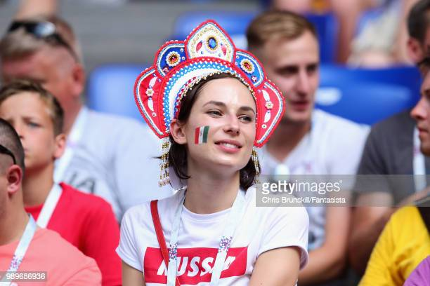 A fan enjoys the atmosphere in the ground before the 2018 FIFA World Cup Russia Round of 16 match between Brazil and Mexico at Samara Arena on July 2...