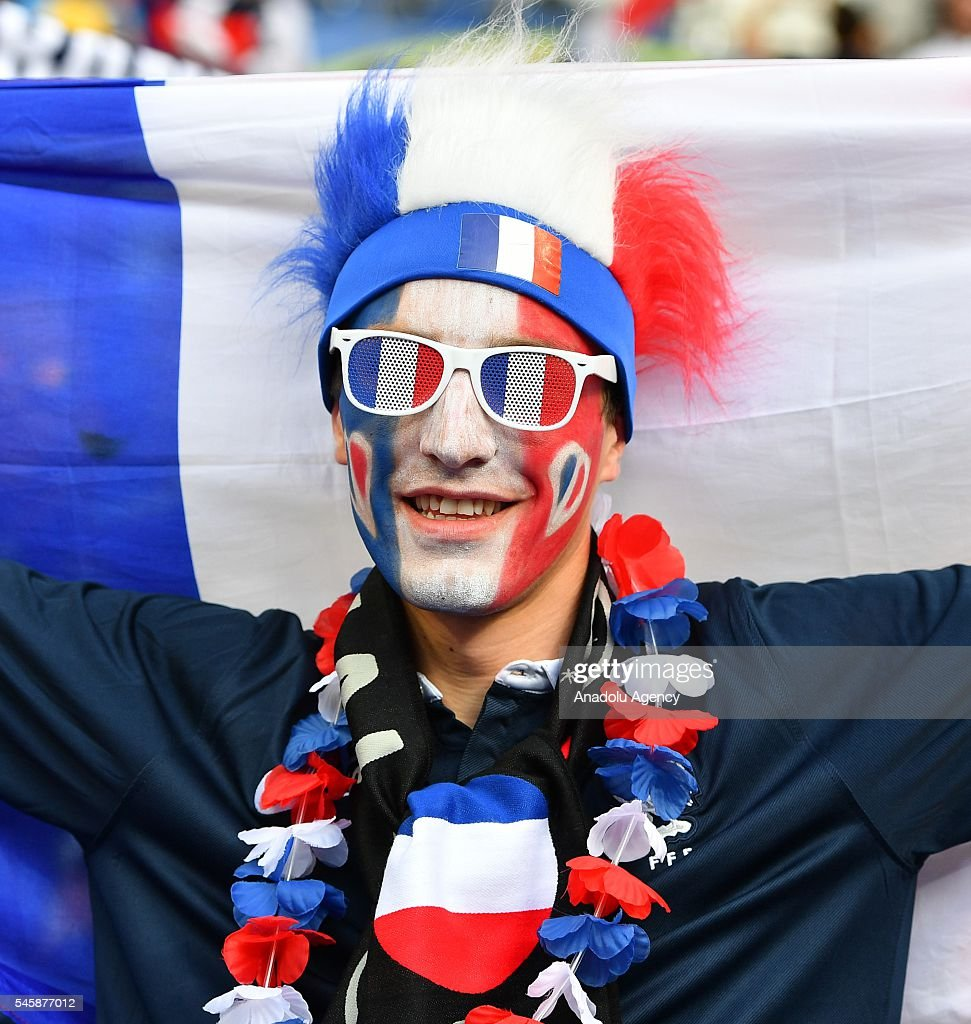 A fan enjoys the atmosphere prior to the Euro 2016 final match between Portugal and France at Stade de France in Paris, France on July 10, 2016.