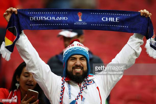 A fan enjoys the atmosphere prior to the FIFA Confederations Cup Russia 2017 Group B match between Germany and Chile at Kazan Arena on June 22 2017...