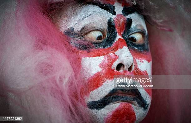 Fan enjoys the atmosphere prior to the Rugby World Cup 2019 Quarter Final match between Japan and South Africa at the Tokyo Stadium on October 20,...