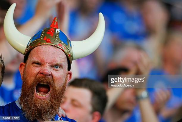 Fan enjoys the atmosphere prior to the UEFA Euro 2016 Round of 16 football match between Iceland and England at Stade de Nice in Nice, France on June...