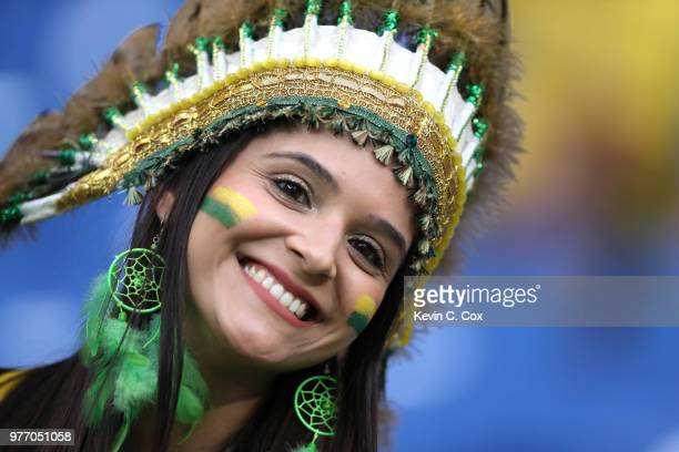 A fan enjoys the pre match atmosphere prior to the 2018 FIFA World Cup Russia group E match between Brazil and Switzerland at Rostov Arena on June 17...