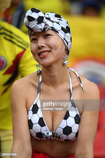 A fan enjoys the pre match atmosphere prior to the 2018 FIFA World Cup Russia Round of 16 match between Colombia and England at Spartak Stadium on...