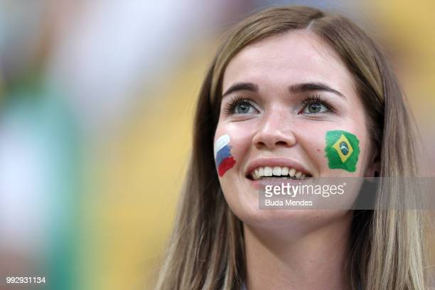 A fan enjoys the pre match atmosphere prior to the 2018 FIFA World Cup Russia Quarter Final match between Brazil and Belgium at Kazan Arena on July 6...