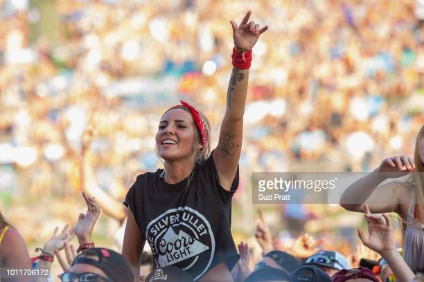 A fan enjoys Watershed Festival at Gorge Amphitheatre on August 5 2018 in George Washington