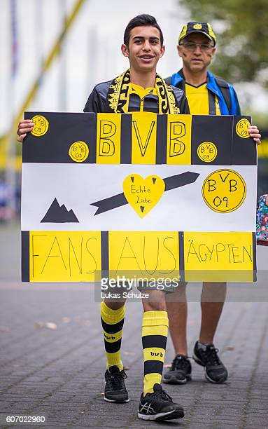 A fan from Egypt is seen prior to the Bundesliga match between Borussia Dortmund and SV Darmstadt 98 at Signal Iduna Park on September 17 2016 in...