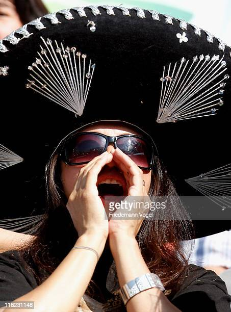 A fan from mexico yells during the FIFA Women's World Cup 2011 Group B match between New Zealand and Mexico at RheinNeckar Arena on July 5 2011 in...