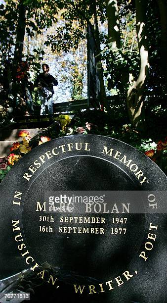 Fan from Yorkshire pays tribute to Marc Bolan, lead-singer & guitarist of the band T-Rex, by visiting his roadside shrine on September 15, 2007 in...