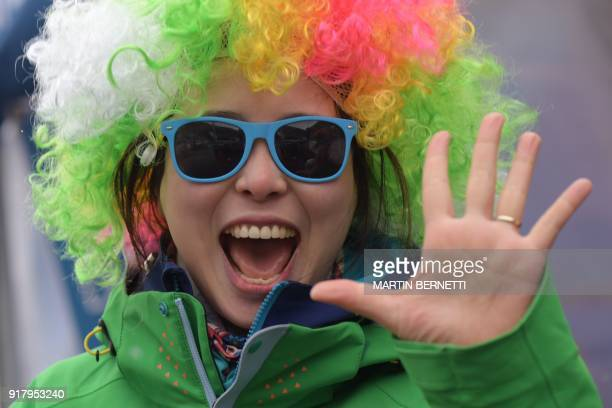 A fan gestures ahead of the start of the Alpine Skiing Women's Slalom at the Jeongseon Alpine Center during the Pyeongchang 2018 Winter Olympic Games...