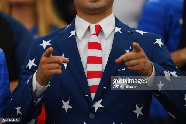 A USA fan gestures during their International Friendly match against Ghana on July 1 2017 at Pratt Whitney Stadium at Rentschler Field in East...