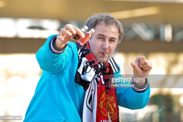 Fan gestures in front of the stadium at UEFA Europa League Round of 16 First Leg match between LASK and Manchester United at Stadion der Stadt Linz...